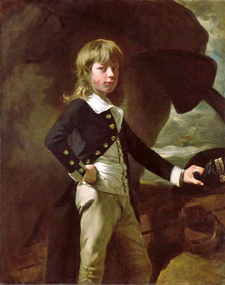 Midshipman Augustus Brine (1769-1840), painted 1782. The son of Admiral James Brine. At the age of thirteen, in 1782, Brine enlisted in the Navy as a midshipman aboard the Belliqueux under the command of his father. In 1790, he was made lieutenant and, eight years later, he became a commander. During the War of 1812, he commanded the Medway and successfully captured the American brig Syran. He was named rear admiral in 1822.