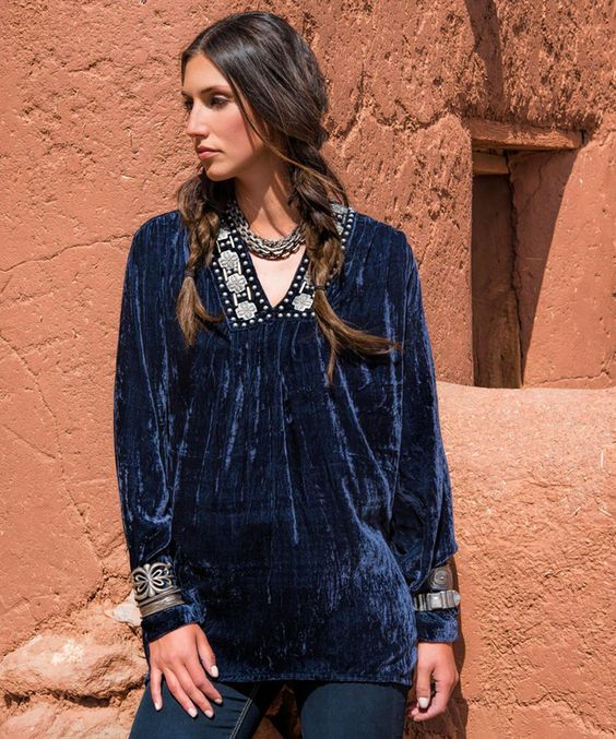 Two Worlds Cross Velvet Top - Tops - Apparel Collection Double D Ranchwear