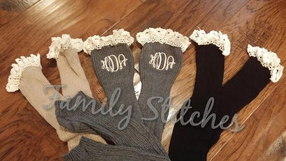 GREY Personalized Monogram Boot Socks by FamilyStitches2 on Etsy