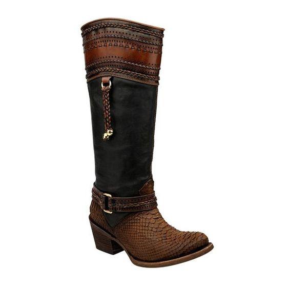 Cuadra Sanded Tabacco Women's Python Boot