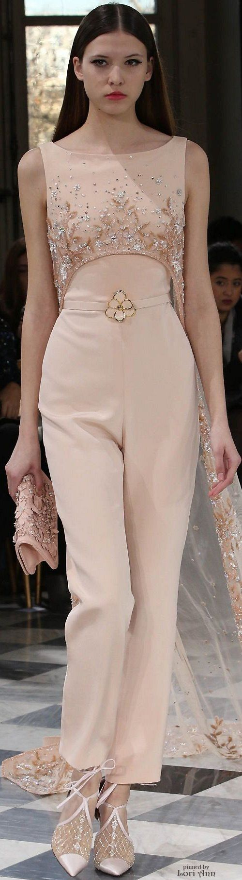 Georges Hobeika Couture Spring 2016- I like the idea of a sleek pantsuit in this color and fit.: