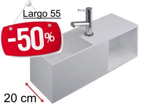 Lave Mains Meuble Deluxe 20 Cm En Solid Surface Blanc Mat Avec Espace De Rangement Largo 55 Bs Benesan Lave Main Paroi De Douche Lave Main Design