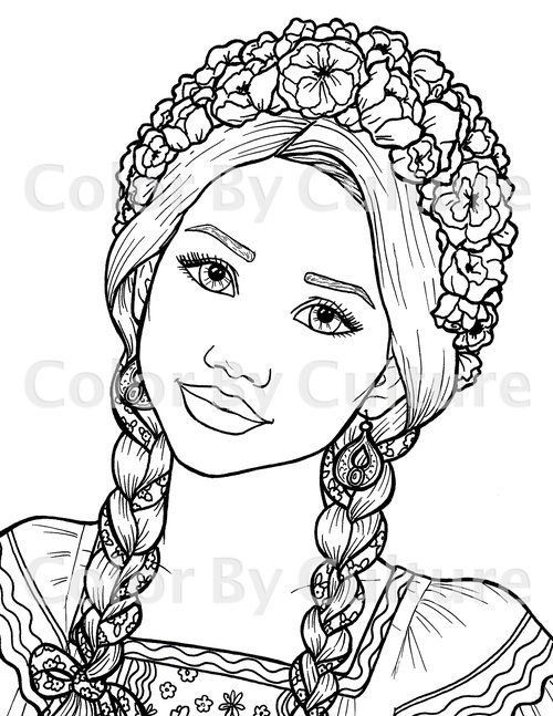 Ukrainian Girl Coloring Page Coloring Pages For Girls Coloring Pages People Coloring Pages