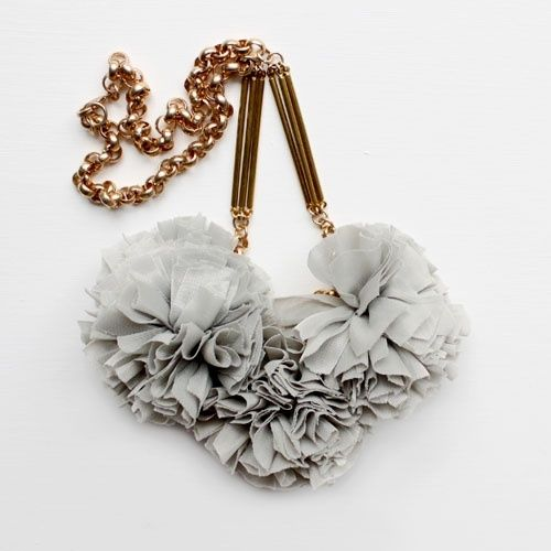 Fabric and Metal Necklace in Grey