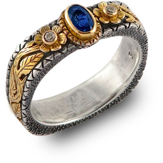 Emma Chapman Jewels - Mini Treasure Blue Tourmaline Ring ($1,350) ❤ liked on Polyvore featuring jewelry, rings, leaves ring, flower jewelry, blue tourmaline jewelry, blue jewelry and leaf ring