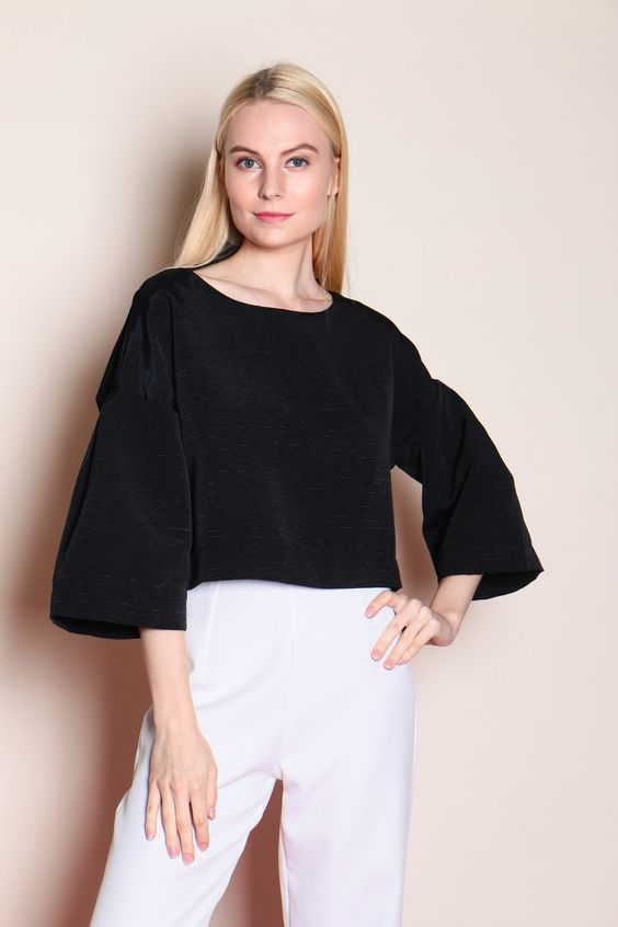 Striped Textured Top (Black) SGD$ 30.00