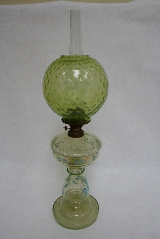 Antique Victorian Green Glass Enameled Oil Lamp Chimney Shade Lamp Bedroom Lamps Oil Lamps