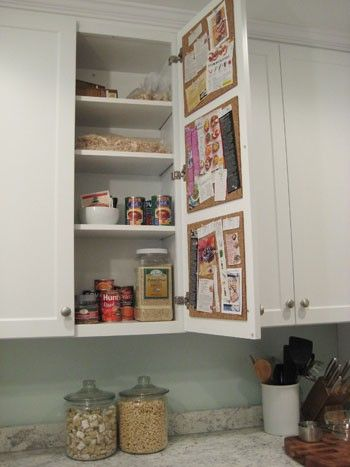 Cupboard bulletin boards: Bulletin Board, Grocery List, Cork Board