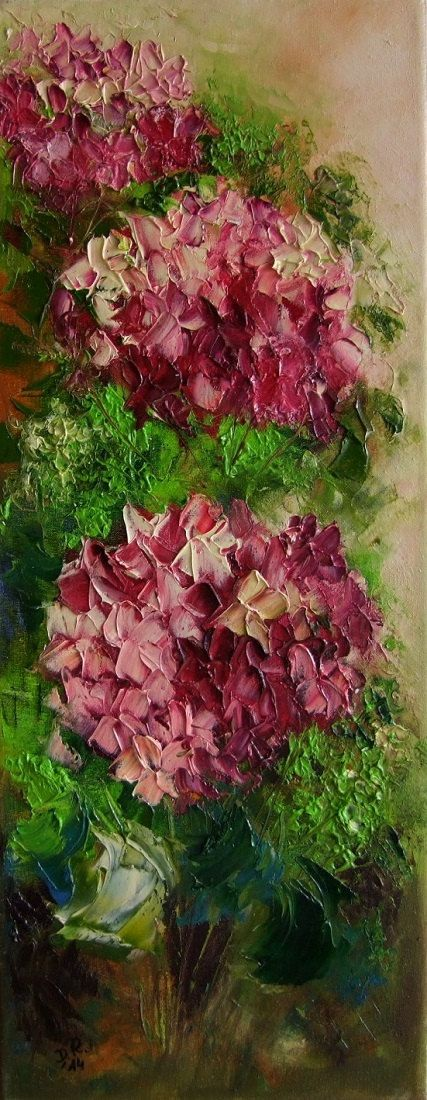 Pink Purple Hydrangea Hortensia Original Oil by ArtistsUnion