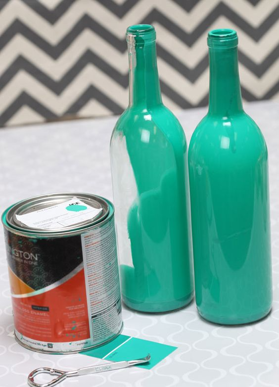 Painted wine bottle centerpiece teal we should make for Homemade wine bottle centerpieces