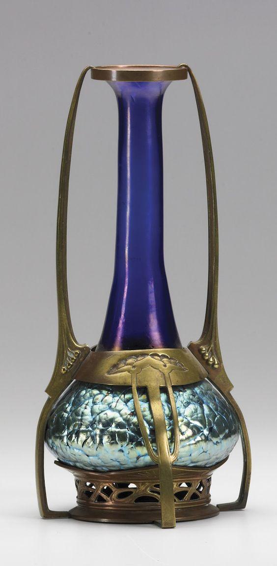 A Loetz cobalt Phanomen Genre 377 Vase with a bronze mount from around 1900.: