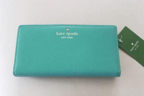 NWT-Kate-Spade-Leather-Mikas-Pond-Stacy-Wallet-Purse-Robins-Egg-Gulabi-Pink