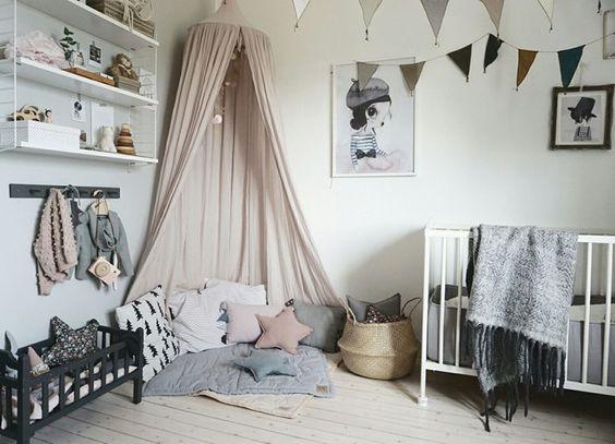 dormitorio bebé tonos grises estilo nórdico