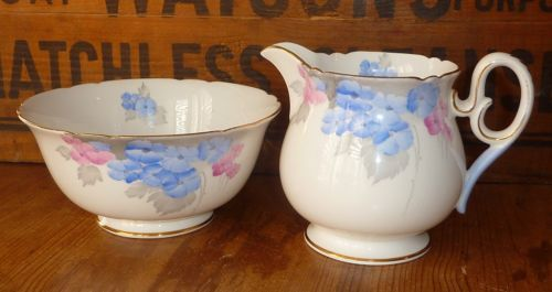 Art Deco Vintage Shelley China, Blue Phlox Creamer and Open Sugar Bowl, no dimensions given. GBP 8.00 (approx $12.23 US) at debthehoarder on etsy, 5/29/15