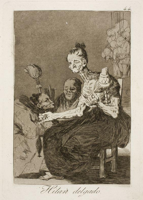 """Francisco de Goya: """"Hilan delgado"""". Serie """"Los caprichos"""" [44]. Etching, aquatint, drypoint and burin on paper, 215 x 151 mm, 1797-99. Museo Nacional del Prado, Madrid, Spain"""
