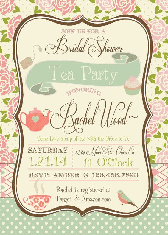 Floral Bridal Shower Invitations with beautiful invitation example