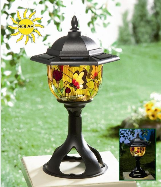 Outdoor Solar Lights Parts: NEW Solar Power Tiffany Style Patio Lamp, Decorative