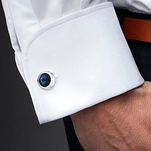 MERIT OCEAN Mens Cufflinks Elegant Style Cuff Link Super Shiny Swarovski  Navy Blue Crystal Circular Cufflinks with Gift…   Beautiful Cool Jewelry   Cufflinks  men, Blue crystals, Cufflinks
