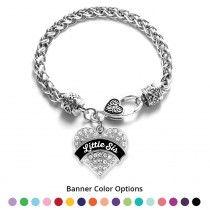 Little Sis Pave Heart Bracelet - Select Your Color!