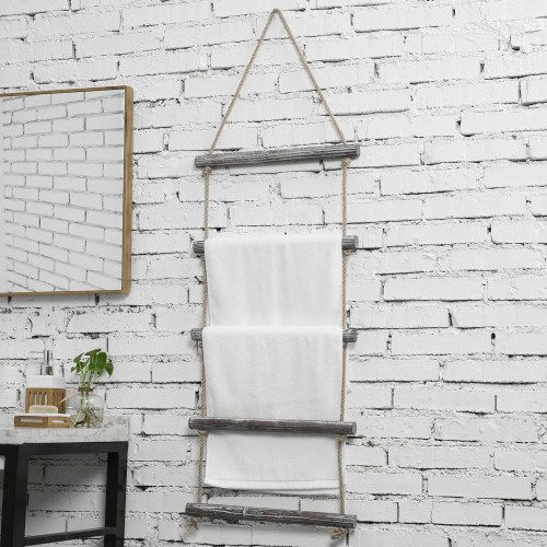 Wall Hanging Rustic Torched Wood And Rope Ladder Towel Rack With 5 Rungs In 2020 Rustic Towels Ladder Towel Racks Hanging Towels