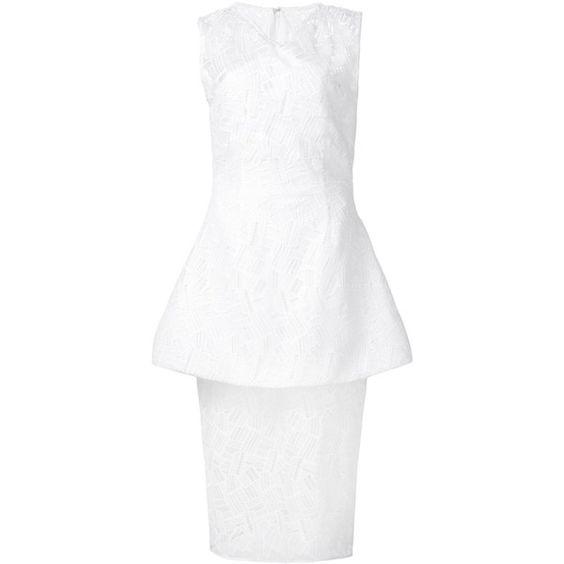 Christian Siriano peplum waist dress ($1,800) ❤ liked on Polyvore featuring dresses, white, waist dress, white peplum dress, peplum dresses, white dresses and white day dress