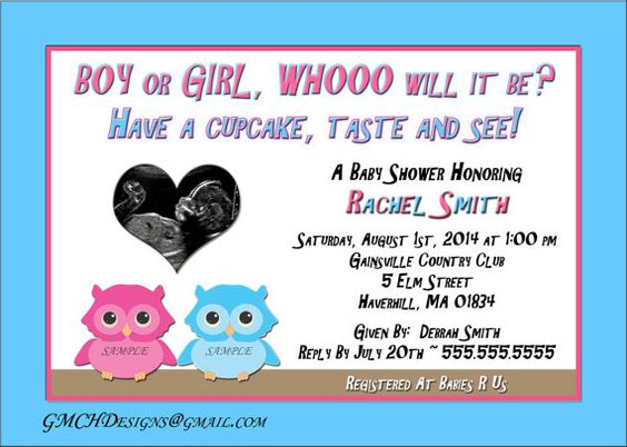 Cute Owl Baby Shower Gender Reveal by cupcake Personalized Invitations ultrasound photo!  NEW!