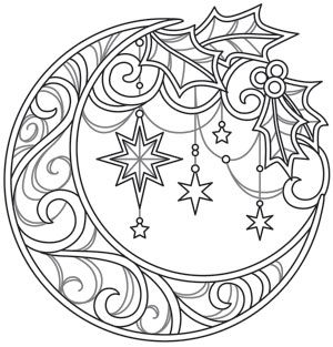 Celestial Christmas - Lunar Wreath design (UTH14348) from UrbanThreads.com