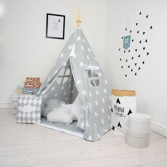 tipi instellen kids spelen tent tipi kid spelen tipi kind tipi wigwam zelt tente grijs sterren. Black Bedroom Furniture Sets. Home Design Ideas