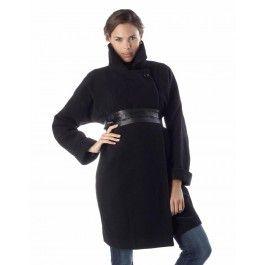 Black Wool &amp Cashmere Wrap Coat | Maternity wear | Pinterest
