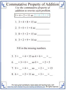 math worksheet : commutative property of addition worksheet 4  addition properties  : Identity Property Of Addition Worksheets