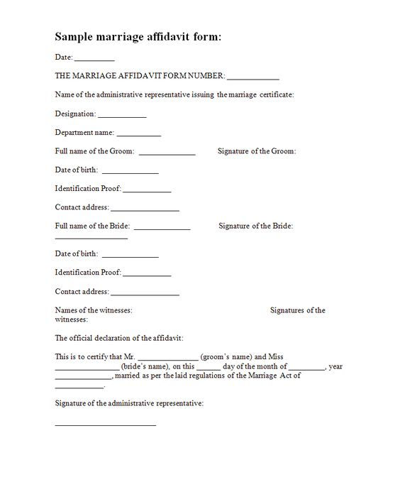 A sample of the marriage affidavit form contains information - sworn affidavit form