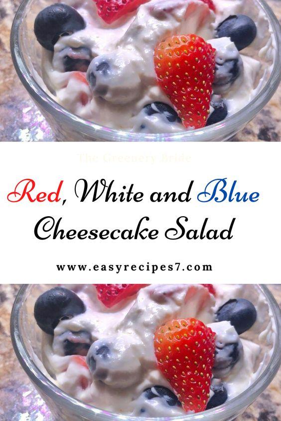 Red, White and Blue Cheesecake Salad  #Red, #White and #Blue #Cheesecake #Salad #WEIGHT #WATCHERS #NUTRITION : #Calories: 330kcal  | #Carbohydrates: 11g  | #Protein: 4g  |#Fat: 31g | #Saturated Fat: 18g  | #Cholesterol: 103mg  | ##Sodium: 194mg  | #Potassium: 184mg  | #Fiber: 2g  | #Sugar: 7g  | #Vitamin A: 1220IU  | #Vitamin C: 24.9mg  | #Calcium: 83mg  | #Iron: 0.5mg