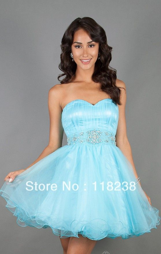 Light Blue Short Prom Dresses - ... light blue Short strapless ...
