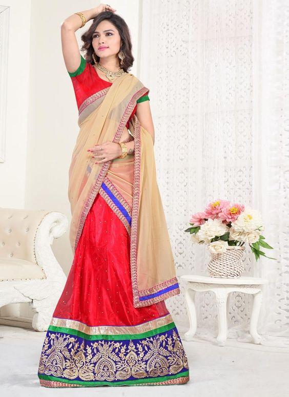 Stylish Embroidered and Zari Work A Line Lehenga Choli | Wedding Lehenga Choli | Bridal Lehenga Choli |  Designer Lehenga Choli | Item Code: 3782