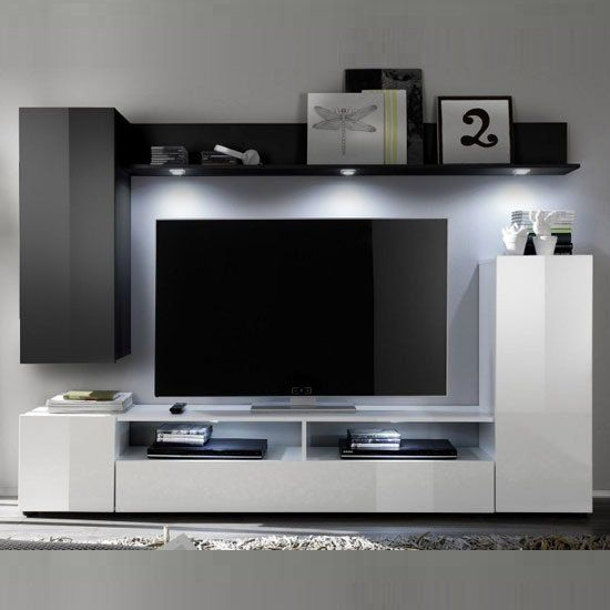 Delta Living Room Furniture Set 2 In White And Black High Gloss 24175 View Our Moder Living Room Sets Furniture Entertainment Wall Units Wall Mounted Tv Unit