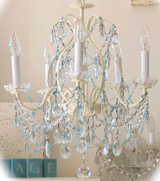 Blue crystals chandelier