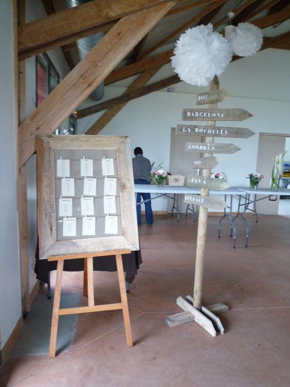 Plan de table et panneau de direction mariage bord de mer - Deco table bord de mer ...