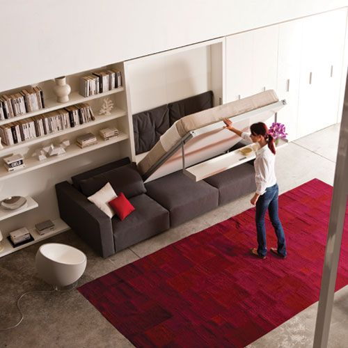 The Swing consists of a Queen bed attached to 42 1/2 inches of shelving with a 9 foot sofa with adjustable chaise and backrest. There is additional storage under the sofa seat. Without removing any objects from the shelf, a simple pull on the built-in handle lowers the bed to the sleeping position and the shelf becomes the foot of the bed. - ResourceFurniture