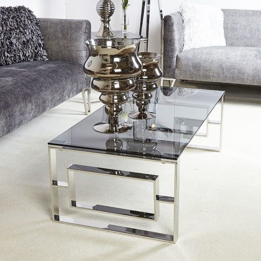 Contemporary Glass Metal Grey Table