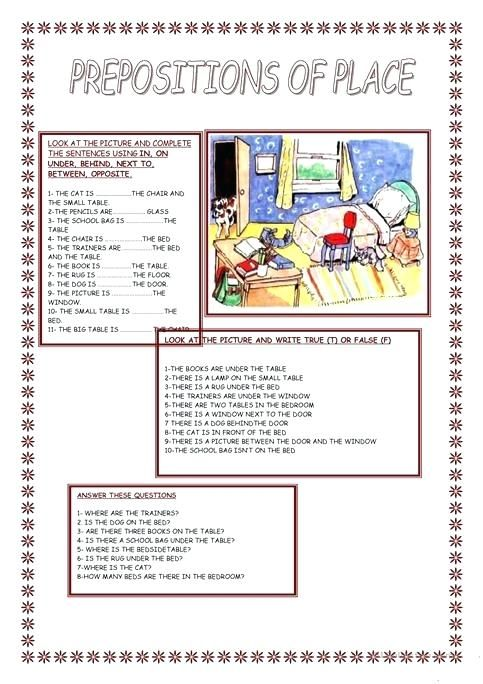 Preposition Of Place Worksheets Pdf With Answers ...