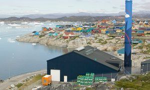 An oil-fired power plant in Illulisat, Greenland, a self-governing territory of Denmark seeking full independence. Independent Greenland 'could not afford' to sign up to Paris climate deal.