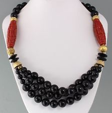 Vintage 60's Long Goldtone, Black & Red Plastic Bead Asian Style Necklace