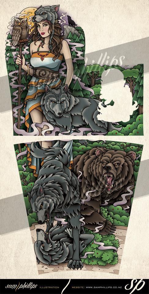 guardian of the forest tattoo sleeve sam phillips artist illustrator graphic designer. Black Bedroom Furniture Sets. Home Design Ideas