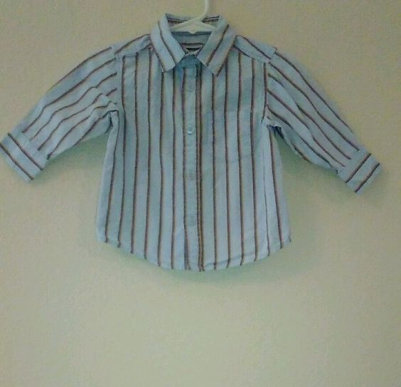 KENNETH COLE REACTION Baby Boy 12M Long Sleeve Striped Button Front Shirt cotton #KennethColeReaction #DressyEverydayHoliday