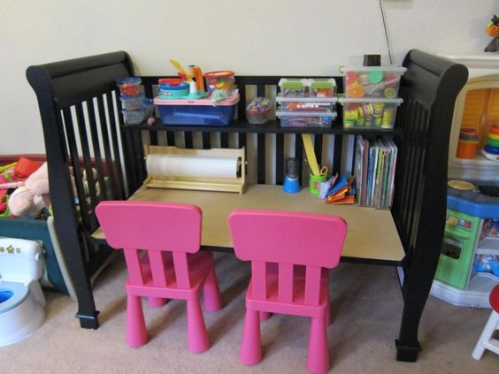 Since I could not resell my old drop side crib, I turned it into an art desk for my girls.