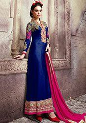 Navy Blue Georgette Straight Suit