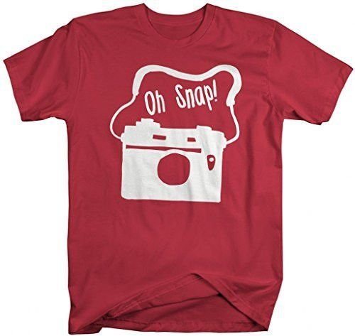 Shirts By Sarah Men's Funny Hipster Shirts Oh Snap Camera Shirts