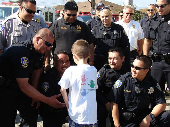 Shane from New York, wanted to meet the police department of Gonzales, California, who befriended him in 2008 when they heard about his extremely rare condition, FOP.