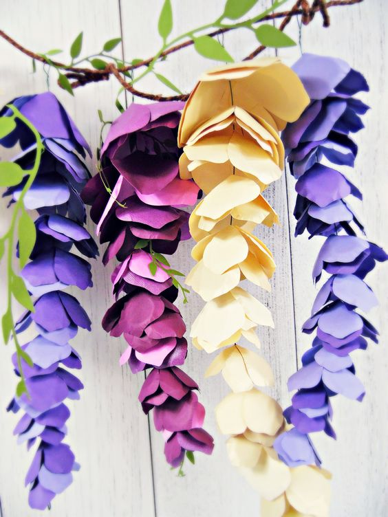 Paper Wisteria. How to make hanging paper wisteria flowers.