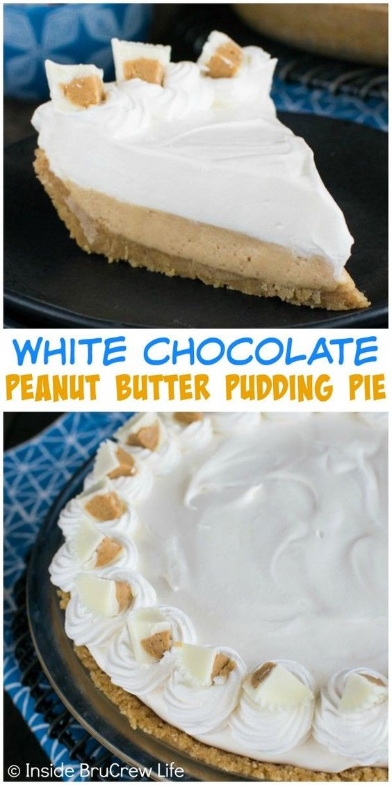 Peanut butter cheesecake, Chocolate pudding and White chocolate on ...